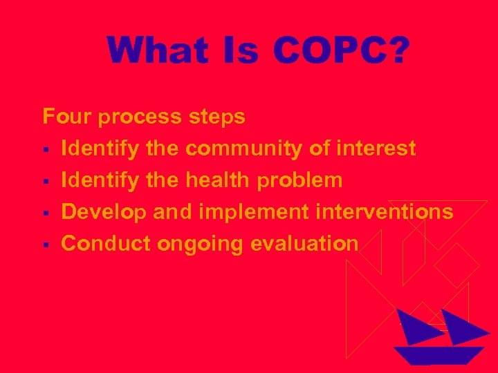 What Is COPC? Four process steps § Identify the community of interest § Identify