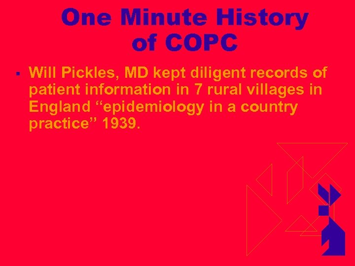 One Minute History of COPC § Will Pickles, MD kept diligent records of patient