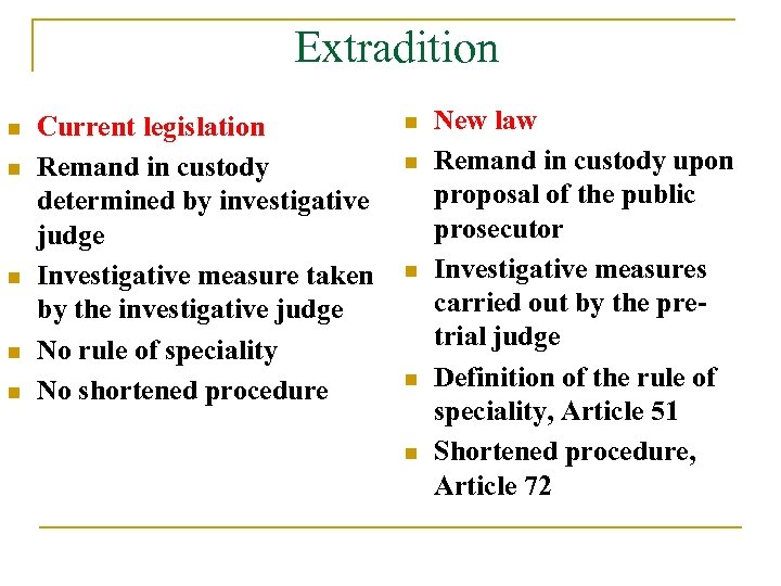 Extradition n n Current legislation Remand in custody determined by investigative judge Investigative measure