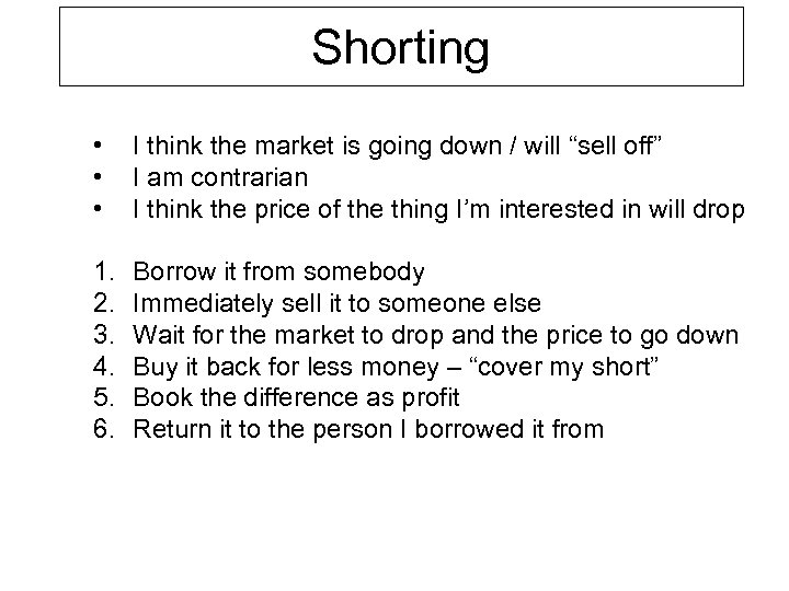 "Shorting • • • I think the market is going down / will ""sell"