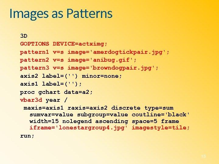 Images as Patterns 3 D GOPTIONS DEVICE=actximg; pattern 1 v=s image='amerdogtickpair. jpg'; pattern 2