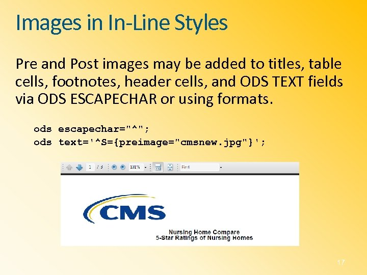 Images in In-Line Styles Pre and Post images may be added to titles, table