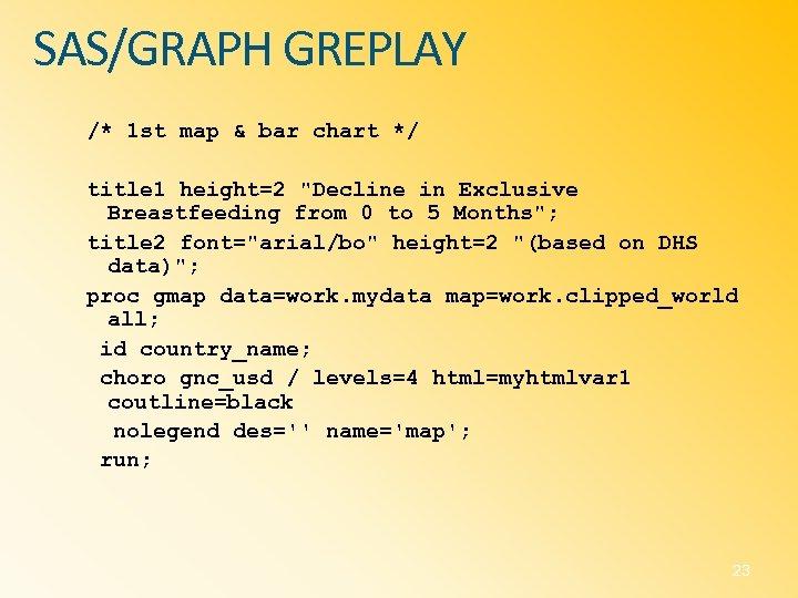 SAS/GRAPH GREPLAY /* 1 st map & bar chart */ title 1 height=2