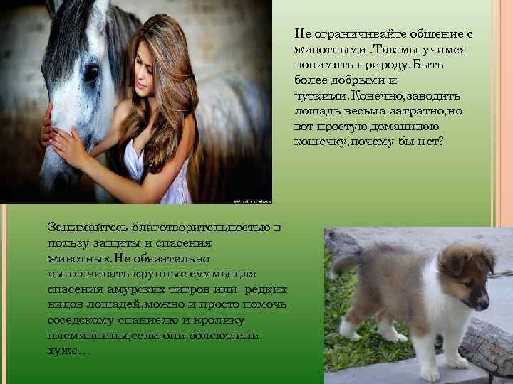 Не ограничивайте общение с животными. Так мы учимся понимать природу. Быть более добрыми и