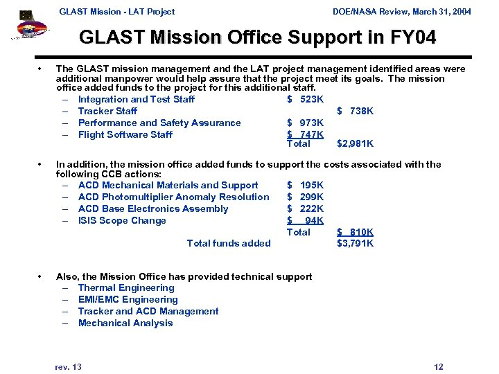 GLAST Mission - LAT Project DOE/NASA Review, March 31, 2004 GLAST Mission Office Support