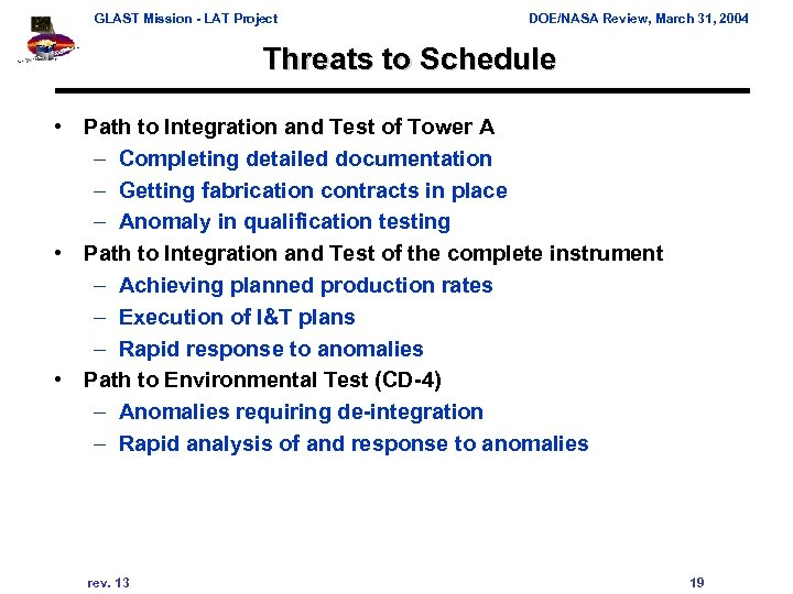 GLAST Mission - LAT Project DOE/NASA Review, March 31, 2004 Threats to Schedule •