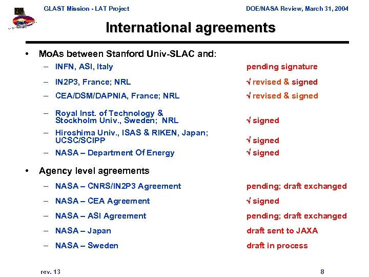 GLAST Mission - LAT Project DOE/NASA Review, March 31, 2004 International agreements • Mo.