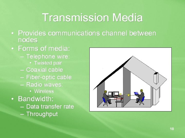 Transmission Media • Provides communications channel between nodes • Forms of media: – Telephone