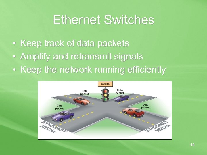 Ethernet Switches • • • Keep track of data packets Amplify and retransmit signals