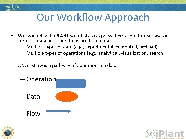 Our Workflow Approach • We worked with i. PLANT scientists to express their scientific