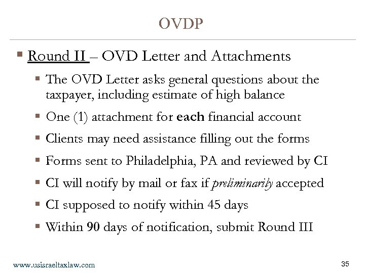 OVDP § Round II – OVD Letter and Attachments § The OVD Letter asks
