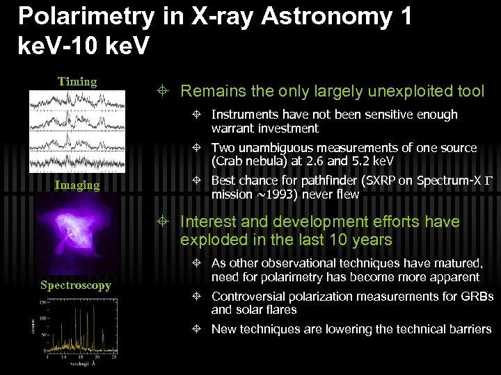 Polarimetry in X-ray Astronomy 1 ke. V-10 ke. V Timing Remains the only largely