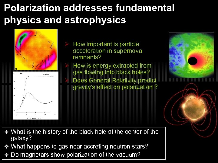 Polarization addresses fundamental physics and astrophysics Ø How important is particle acceleration in supernova