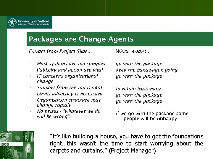 Packages are Change Agents Extract from Project Slide… Which means… • • • go