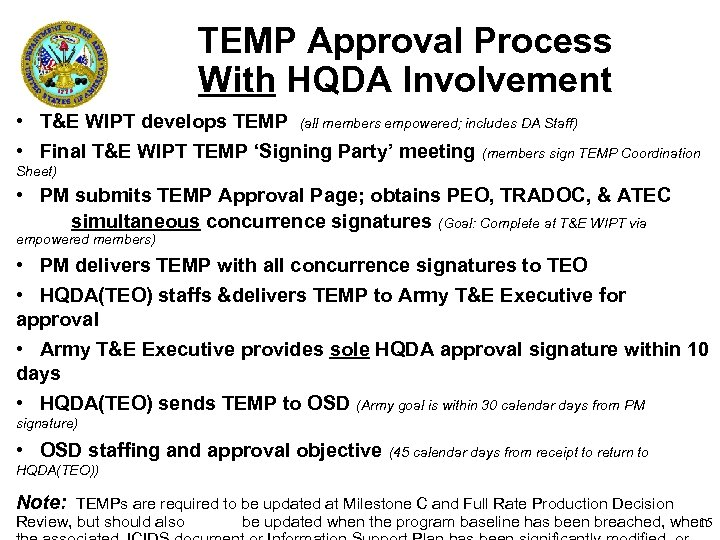 TEMP Approval Process With HQDA Involvement • T&E WIPT develops TEMP (all members empowered;