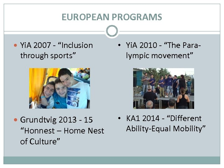 "EUROPEAN PROGRAMS Yi. A 2007 - ""Inclusion • Yi. A 2010 - ""The Paralympic"