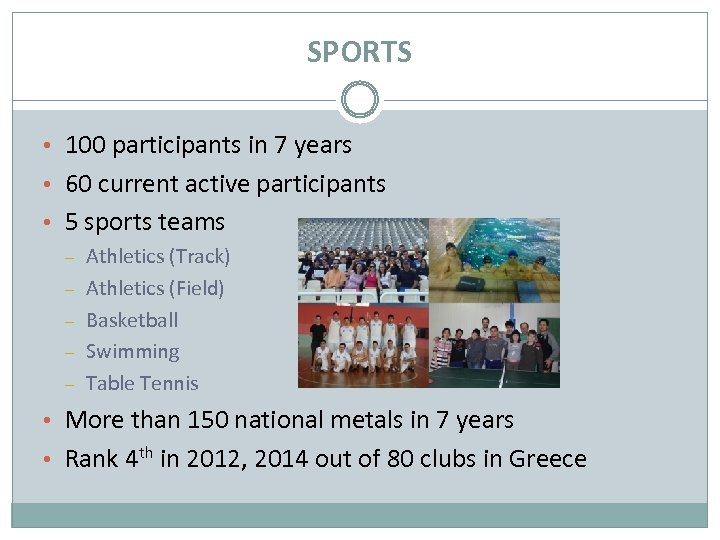 SPORTS • 100 participants in 7 years • 60 current active participants • 5