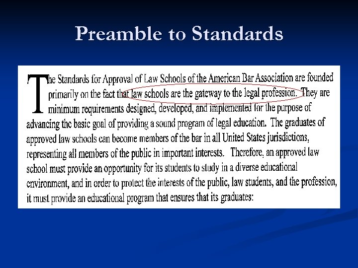 Preamble to Standards