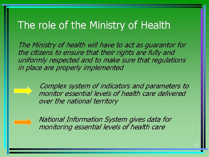 The role of the Ministry of Health The Ministry of health will have to