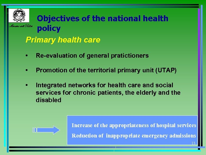 Objectives of the national health Ministero della Salute policy Primary health care • Re-evaluation