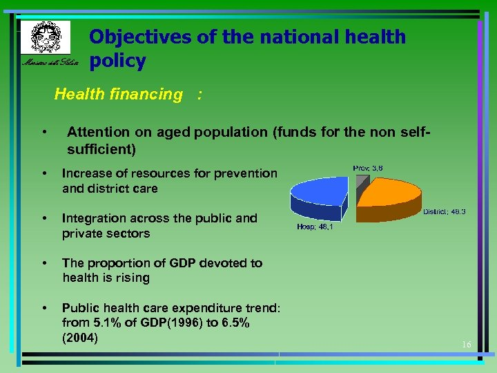 Ministero della Salute Objectives of the national health policy Health financing : • Attention