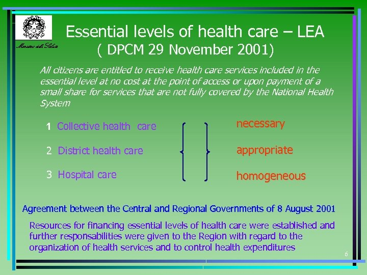 Essential levels of health care – LEA Ministero della Salute ( DPCM 29 November
