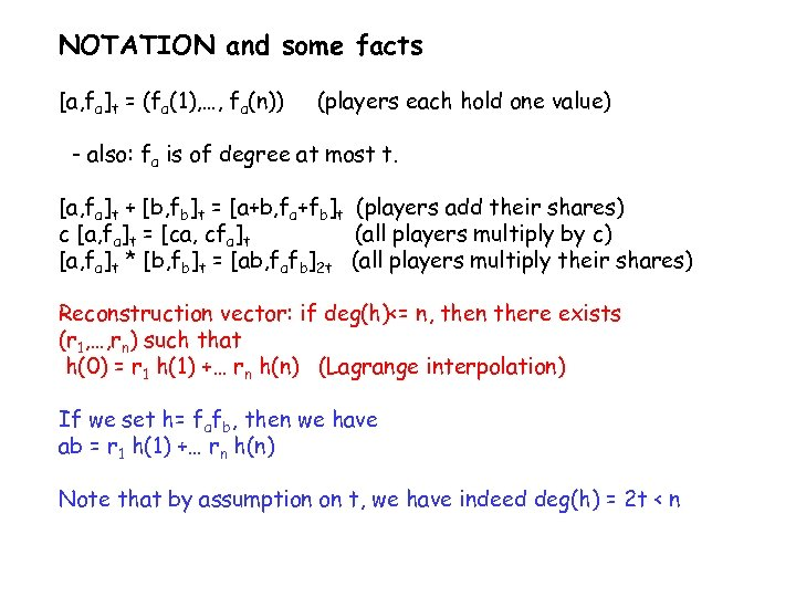 NOTATION and some facts [a, fa]t = (fa(1), …, fa(n)) (players each hold one
