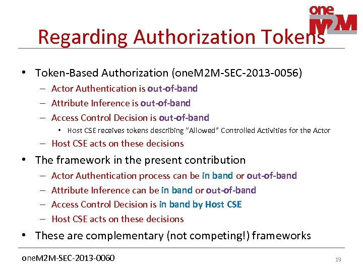 Regarding Authorization Tokens • Token-Based Authorization (one. M 2 M-SEC-2013 -0056) – Actor Authentication
