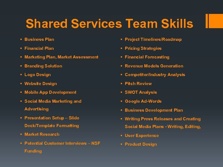 Shared Services Team Skills § Business Plan § Project Timelines/Roadmap § Financial Plan §