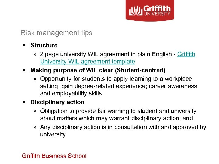 Risk management tips § Structure » 2 page university WIL agreement in plain English