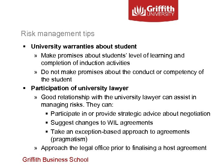 Risk management tips § University warranties about student » Make promises about students' level