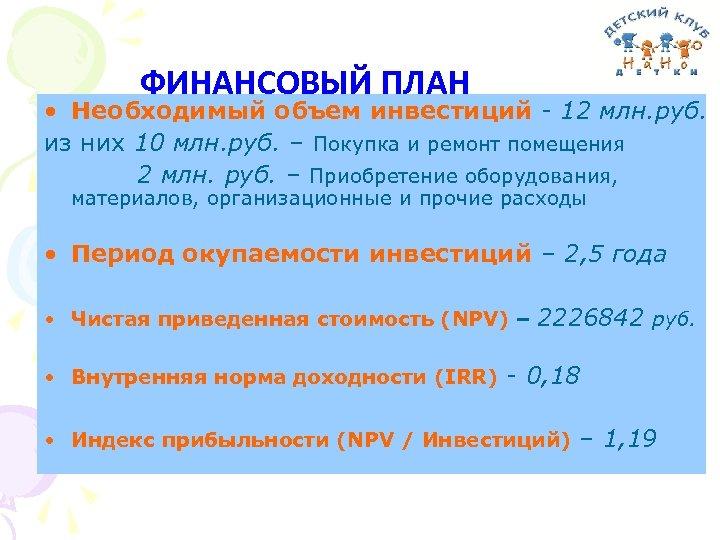 ФИНАНСОВЫЙ ПЛАН • Необходимый объем инвестиций - 12 млн. руб. из них 10 млн.
