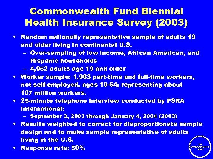 Commonwealth Fund Biennial Health Insurance Survey (2003) • Random nationally representative sample of adults