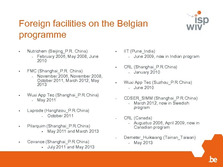 Foreign facilities on the Belgian programme • Nutrichem (Beijing_P. R. China) - February 2006,