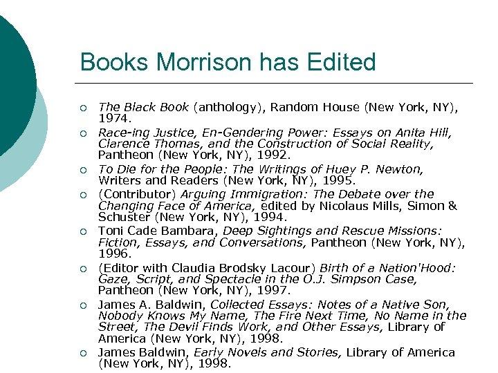Books Morrison has Edited ¡ ¡ ¡ ¡ The Black Book (anthology), Random House