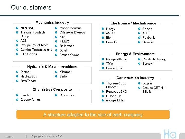Our customers Mechanics industry NTN-SNR Tristone Flowtech Group ACS Groupe Gouet-Meca. Général Transmissions STX
