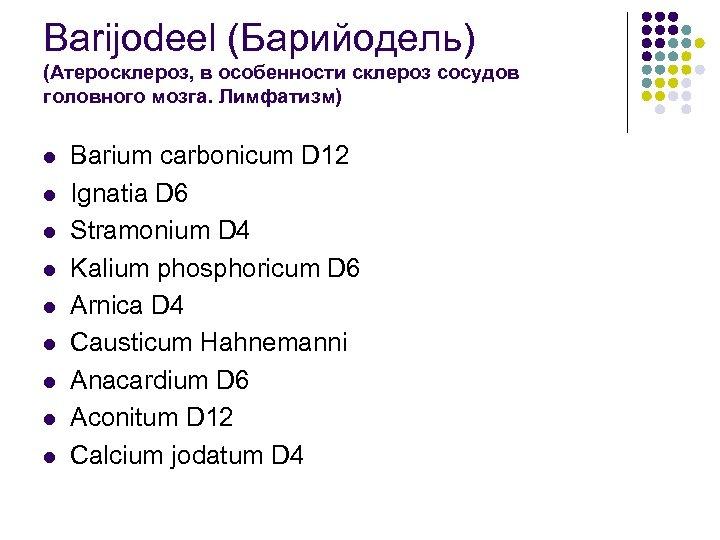 Barijodeel (Барийодель) (Атеросклероз, в особенности склероз сосудов головного мозга. Лимфатизм) l l l l