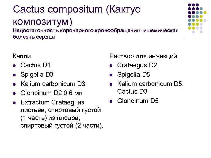 Cactus compositum (Кактус композитум) Недостаточность коронарного кровообращения; ишемическая болезнь сердца Капли Раствор для инъекций