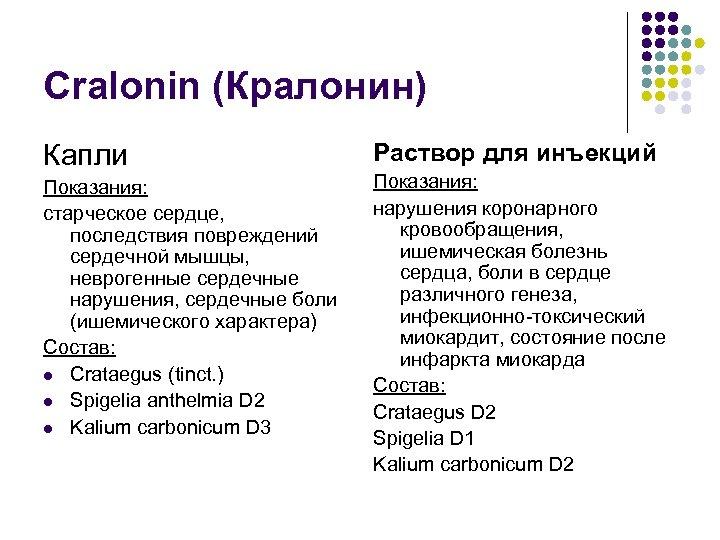 Cralonin (Кралонин) Капли Показания: старческое сердце, последствия повреждений сердечной мышцы, неврогенные сердечные нарушения, сердечные