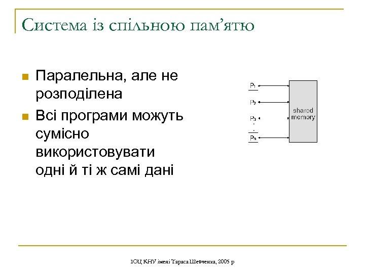 Система із спільною пам'ятю n n Паралельна, але не розподілена Всі програми можуть сумісно