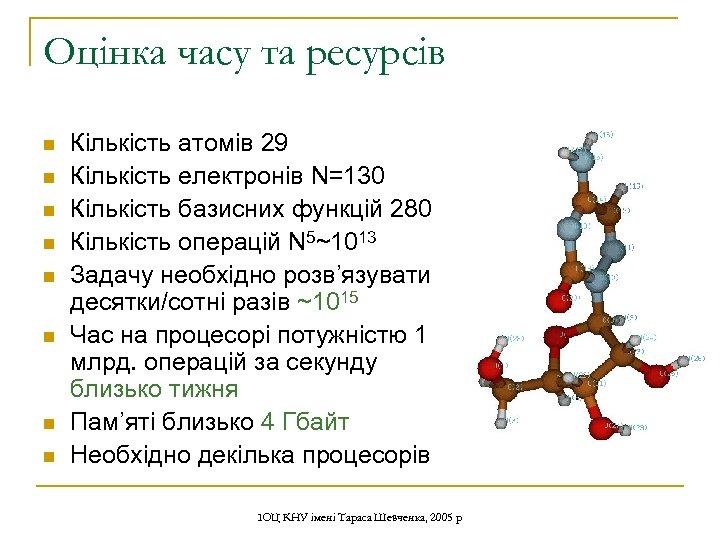 Оцінка часу та ресурсів n n n n Кількість атомів 29 Кількість електронів N=130