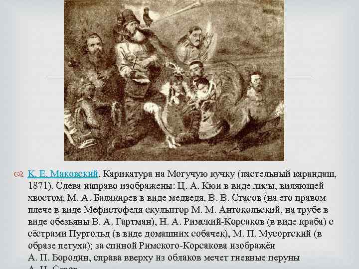 К. Е. Маковский. Карикатура на Могучую кучку (пастельный карандаш, 1871). Слева направо изображены: