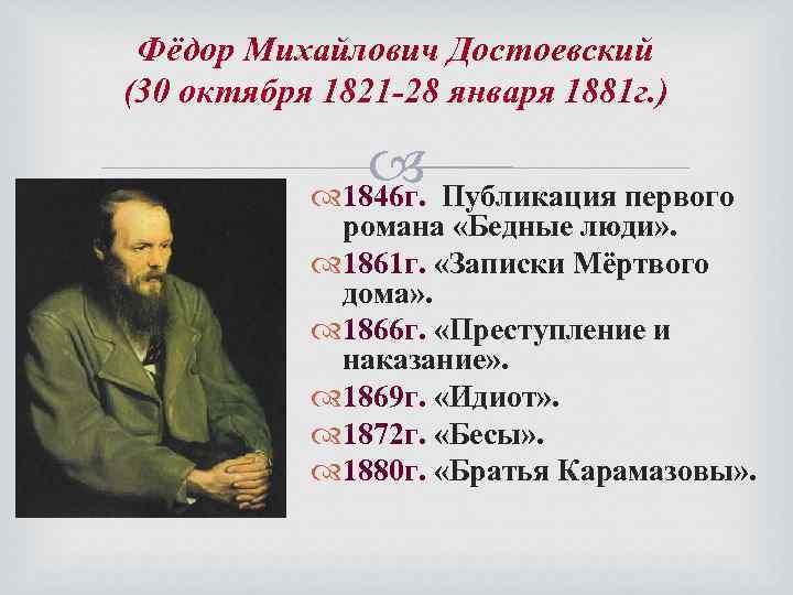 Фёдор Михайлович Достоевский (30 октября 1821 -28 января 1881 г. ) Публикация первого 1846