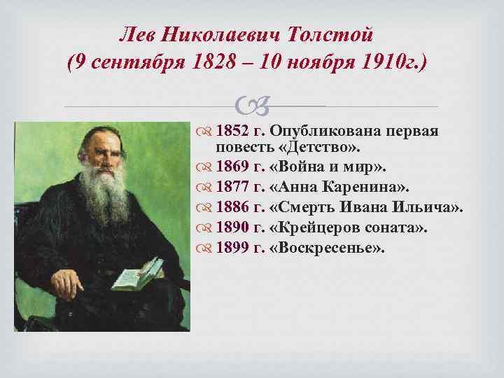 Лев Николаевич Толстой (9 сентября 1828 – 10 ноября 1910 г. ) 1852 г.