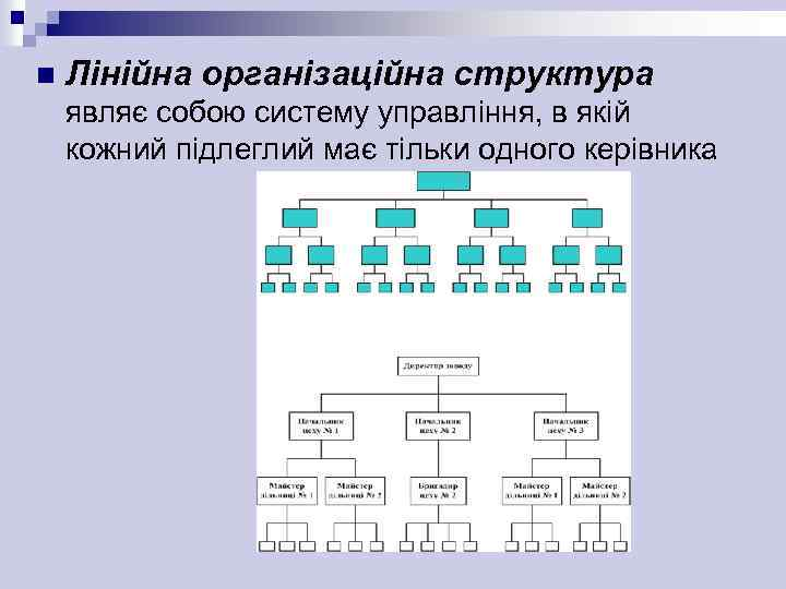 n Лінійна організаційна структура являє собою систему управління, в якій кожний підлеглий має тільки