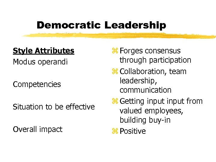 Democratic Leadership Style Attributes Modus operandi Competencies Situation to be effective Overall impact z