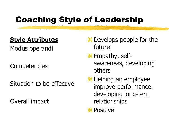 Coaching Style of Leadership Style Attributes Modus operandi Competencies Situation to be effective Overall