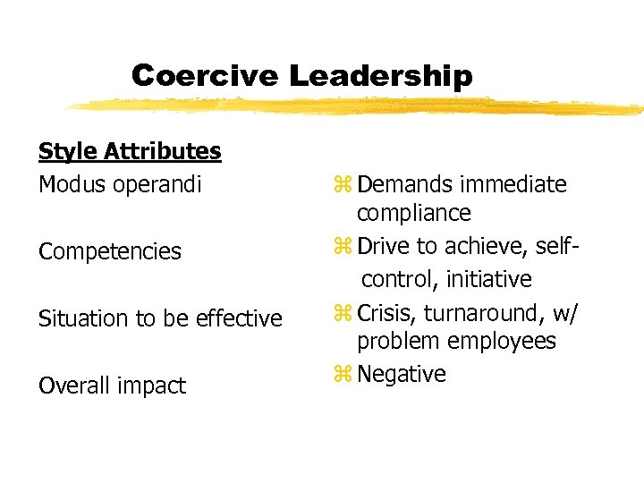 Coercive Leadership Style Attributes Modus operandi Competencies Situation to be effective Overall impact z