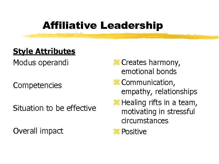 Affiliative Leadership Style Attributes Modus operandi Competencies Situation to be effective Overall impact z