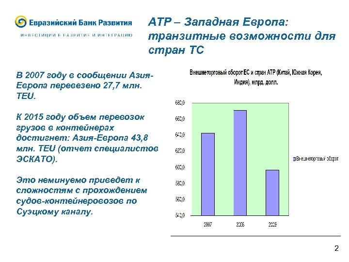 АТР – Западная Европа: транзитные возможности для стран ТС В 2007 году в сообщении